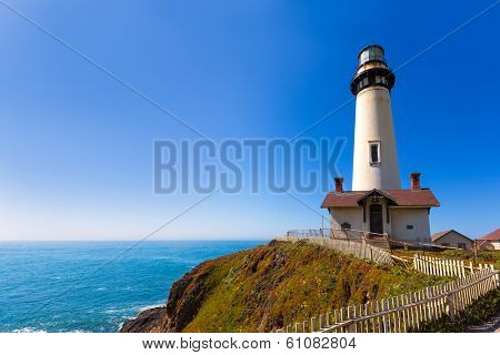 California Pigeon point Lighthouse in Cabrillo Hwy coastal highway State Route 1 poster