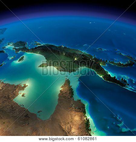 Night Earth. Australia And Papua New Guinea
