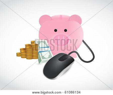 Piggybank Money And Coins Illustration