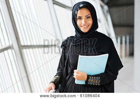 attractive modern islamic college girl on campus