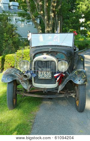 Historical 1929 model A Ford in Bar Harbor, Maine