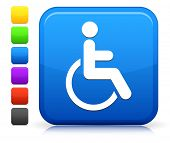 Wheelchair Icon on Square Internet Button Collection poster