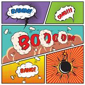 Comic speech bubbles and comic strip background vector illustration poster