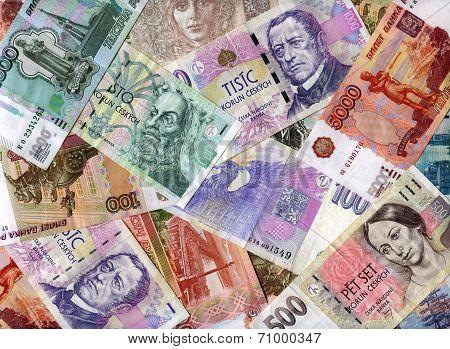 Background. Russian Rubles And Czech Koruns