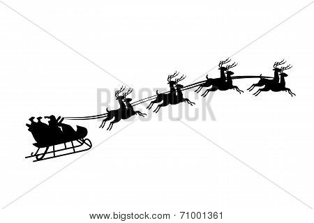 Illustration Of Santa Claus Riding In A Sleigh With Harness On The Reindeer