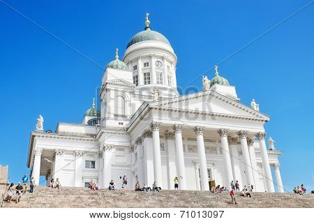Tourist visiting Helsinki cathedral on June 22 2013