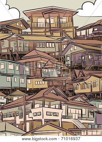 Editable vector illustration of closely packed houses on a hillside