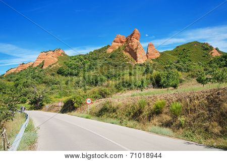 Mountain road in Las Medulas ancient roman mines and natural park in Leon Spain.