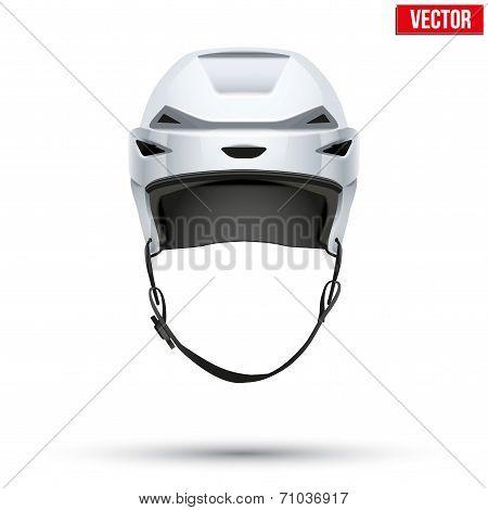 Classic white Hockey Helmet isolated on Background. Vector.