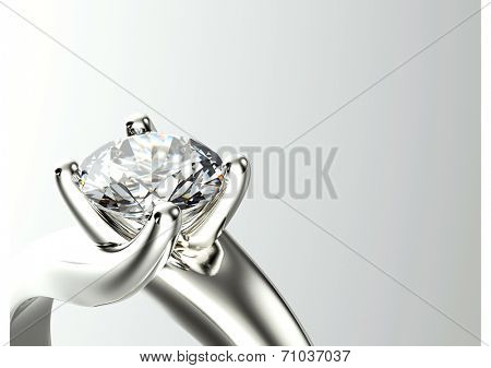 Engagement Ring with Diamond. Jewelry background