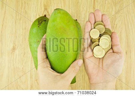 Man Buying Mangifera Indica Or Mango