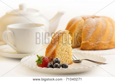 slice of cake with afternoon tea