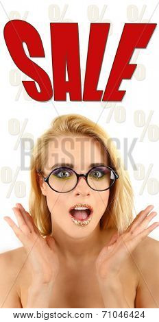 Concept of discount. Beautiful woman with glasses
