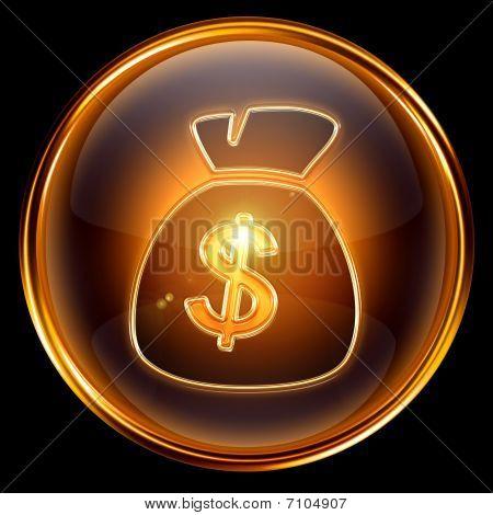 Dollar Icon Golden, Isolated On Black Background.
