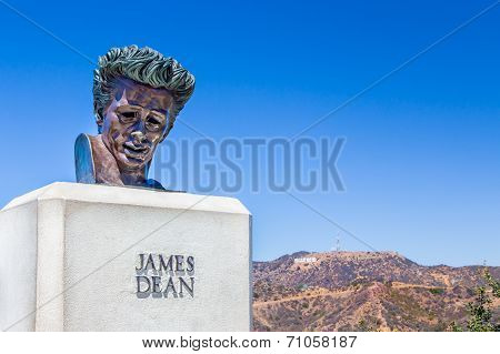 James Dean Sculpture In The Hollywood Hills, California