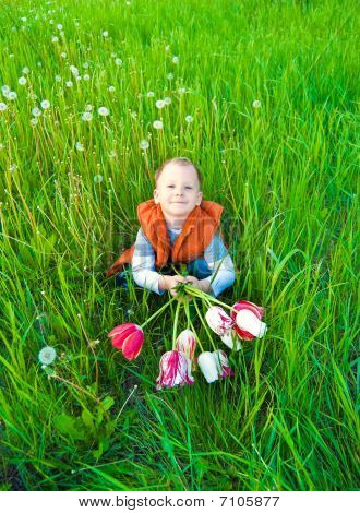The Boy With A Bouquet Of Tulips Among A Green Meadow