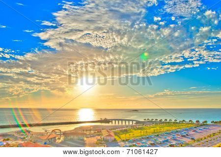 Sunset shining of tropical island, HDR