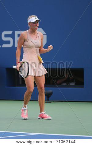 Professional tennis player Caroline Wozniacki during third round match at US Open