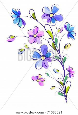 Vertical background with bright violet flowers