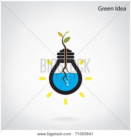 Tree Of Green Idea Shoot Grow In A Light Bulb.