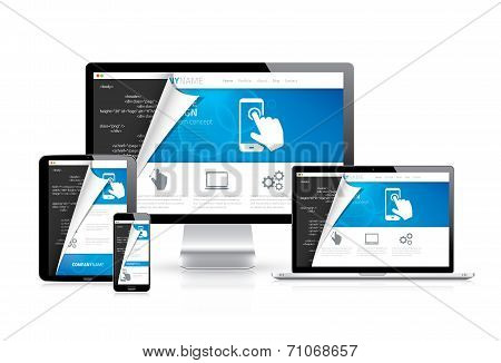 Responsive web design vector with html code script in background poster