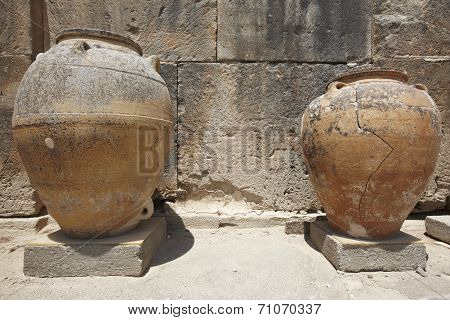 Ceramic Pots In Phaestos City Ruins In Crete. Greece
