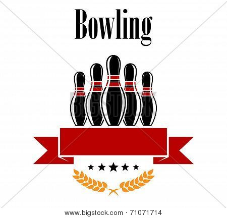 Bowling heraldic banner with ninepins