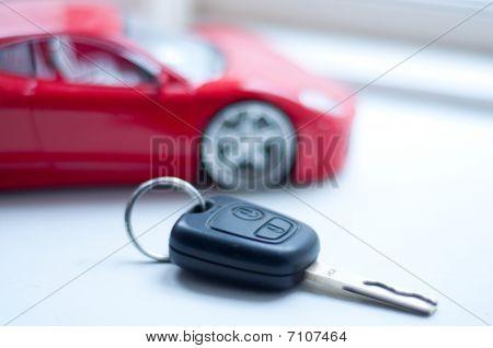 Car Key Near Small Remote Red Super Car