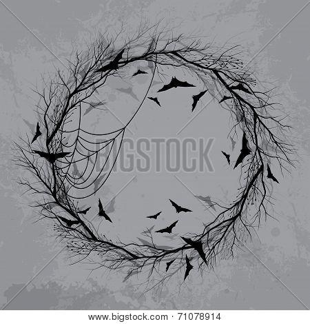 Vector Halloween wreath 2