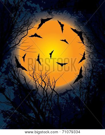 Halloween moon night background illustration