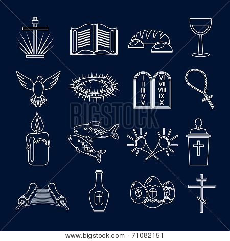 Christianity traditional holy religious symbols outline icons set with thorns fish candle isolated vector illustration poster