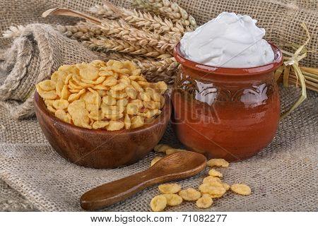 cornflakes and  sour cream