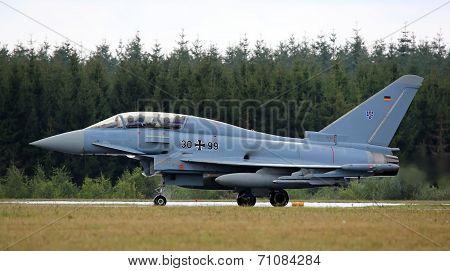 Eurofighter training jet after flight demonstration
