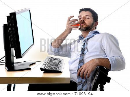 Alcoholic Business Man Drinking Whiskey Sitting Drunk At Office With Computer