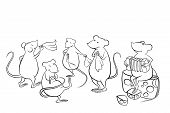 mice dancing in the kitchen and playing music poster
