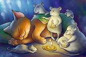 the mice read book to a kitten at the night poster