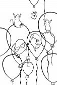 five mice flying on balloons and a piece of cheese poster