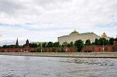 Tower of Moscow Kremlin Russia in cloudy day poster