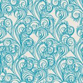 Seamless pattern with turquoise leaves on a beige background poster