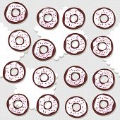 Sweet donuts with icing and pink sugar sprinkles messy food dessert seamless pattern on light gray background poster