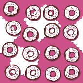 Sweet donuts with icing and pink sugar sprinkles messy food dessert seamless pattern on pink background poster