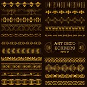 Art Deco Vintage Borders and Design Elements - hand drawn in vector poster