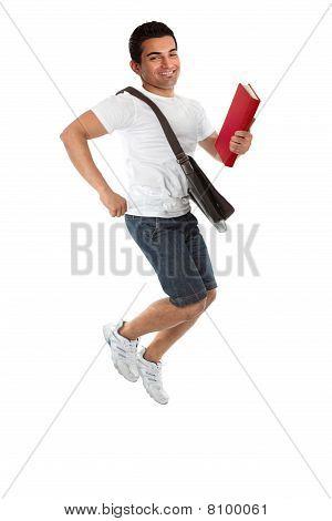 Ecstatic Student Jumping