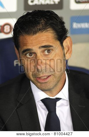 BARCELONA - MAY,11: Real Madrid Sporting Director Manolo Hierro during the Spanish Kings Cup match against UE Cornella at the Estadi Cornella on May 11, 2014 in Barcelona, Spain
