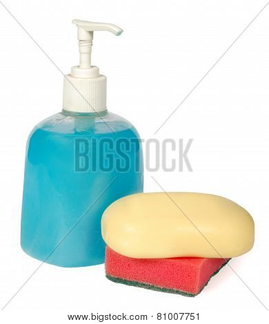 Set colored plastic bottles with liquid soap and shower gel isolated on white background . Studio shooting. Set. poster