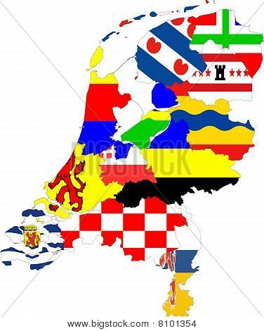 Netherlands Map Of Provinces Collage With Flags