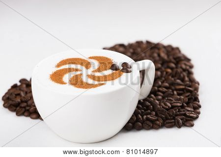Capuccine With Coffee Beans