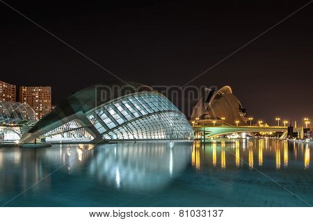 The City of Arts and Sciences at night: planetarium and opera house.