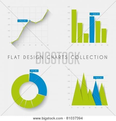 Set of vector flat design infographics statistics charts and graphs -blue and green version