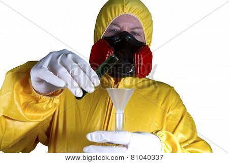 HazMat Worker with Test Tubes